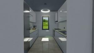 Conception d'une cuisine - vue d'un rendu d'une cuisine en parallèle avec une fenêtre qui donne une lumiere naturel dans la cuisine - rendu issu de Edificius le logiciel BIM pour l'architecture
