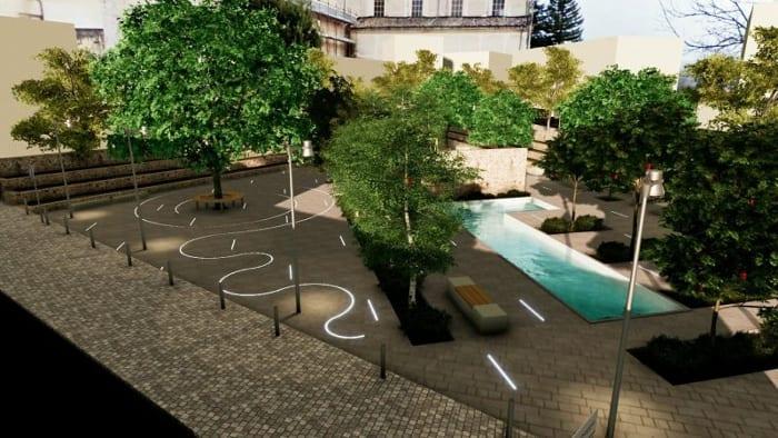 Rendu réalisé avec Edificius - une image qui montre une place avec des arbres, une fontaine au niveau du sol et des bancs avec des parcours illuminer avec des LED
