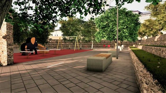 une vue en perspective – l'image montre la place de jeux avec un revêtement de sols conçu pour les places de jeux avec ses balançoires et ses toboggans et ses bancs en bois entourer d'arbres pour ombrager les assises