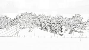 sous forme de rendu, une image en noir et blanc montre un croquis de la place