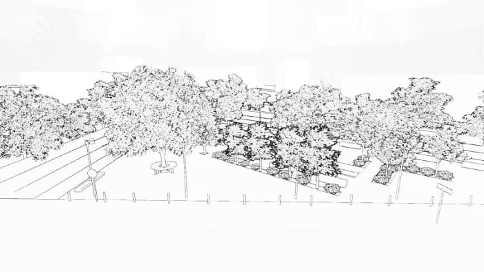 rendu effet croquis projet aménagement urbain - réalisé avec Edificius logiciel bim architecture 3d