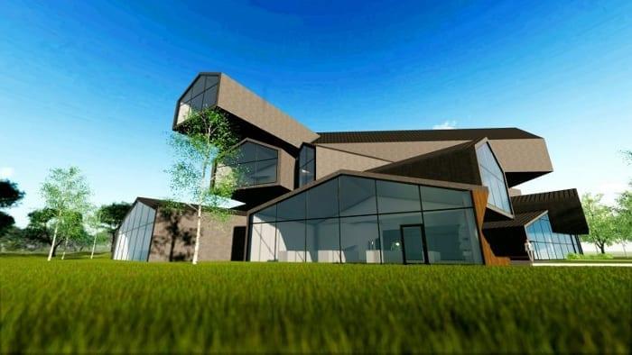 l'image du rendu montre le musée de Vitrahaus situé près de Bâle en suisse- le rendu à une perspective en voyant en premier plan le gazon qui montre le bâtiment très original avec sa grandes baie vitrée est ses toit superposer comme des lego en désordres
