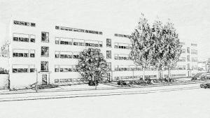 Vue en perspective du quartier des maisons en barre de Weissenhof à Stuttgart réaliser par Mies van der Rohe