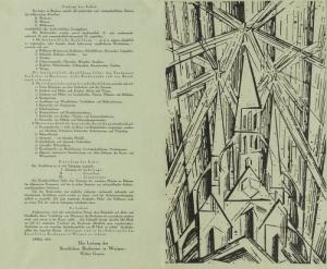 """l'image représente, l'affiche et le programme de l'école Bauhaus Lyonel Feininger crée """"Cathédrale"""", un bois gravé qui symbolise l'œuvre absolue et sert de couverture au Manifeste du Bauhaus"""