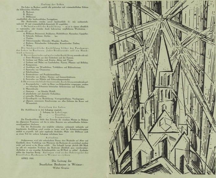 """l'image représente, l'affiche et le programme de l'école Bauhaus de Lyonel Feininger crée une """"Cathédrale"""", en bois gravé qui symbolise l'œuvre absolue et sert de couverture au Manifeste du Bauhaus"""
