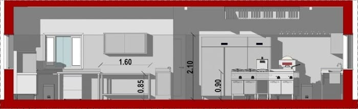 vue en coupe A-A qui montre la hauteur du revêtements mural de 2,10 m, 0,90 cm pour la hauteur des plans de travail