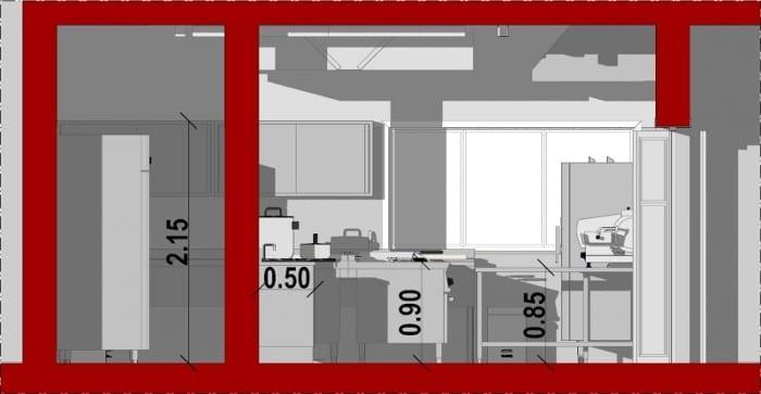 vue en coupe B-B qui montre la hauteur du mobilier, 2,15 m pour la hauteur du mobilier au mure, 0,90 cm pour la hauteur des plans de travail et 0,50 cm pour la profondeur du mobilier