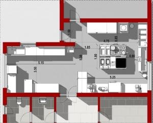 la vue en plan montre la cuisine professionnelle avec son entrée de service,la zone de stockage des aliments, le parcours pour le nettoyage des denrées avec ses différents éviers, son îlot avec les pianos de cuisson et ses différents locaux de services wc et vestiaire