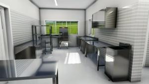 une image d'un rendu de Edificius qui montre une cuisine professionnelle avec tous ses accessoires éviers, plan de travail, frigidaire, piano de cuisson, hotte aspiration, le toute en acier inoxydable, sol en résine époxydes
