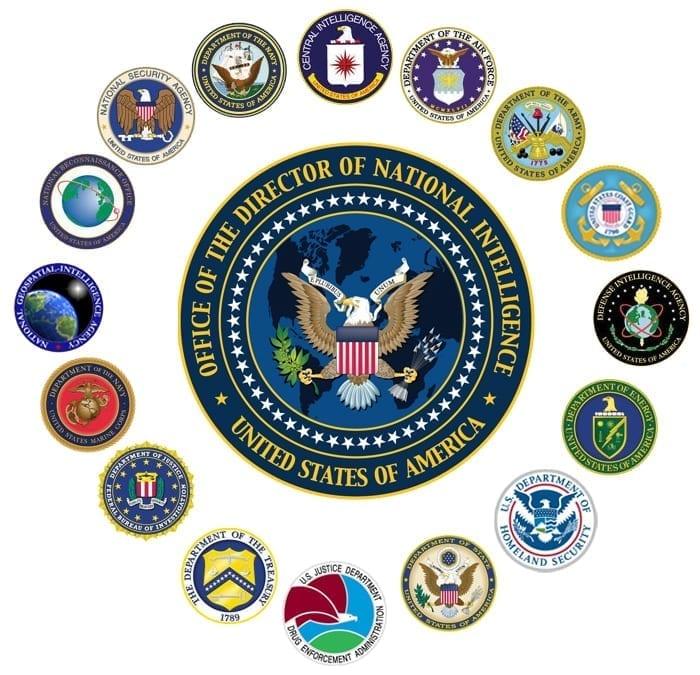 image qui montre les emblèmes des 17 services de renseignement