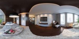 La réalité augmentée à 360° - une vue qui montre l'intérieur d'un appartement avec tous ses meubles regrouper sur une seul image grâce au masque de la réalité augmentée