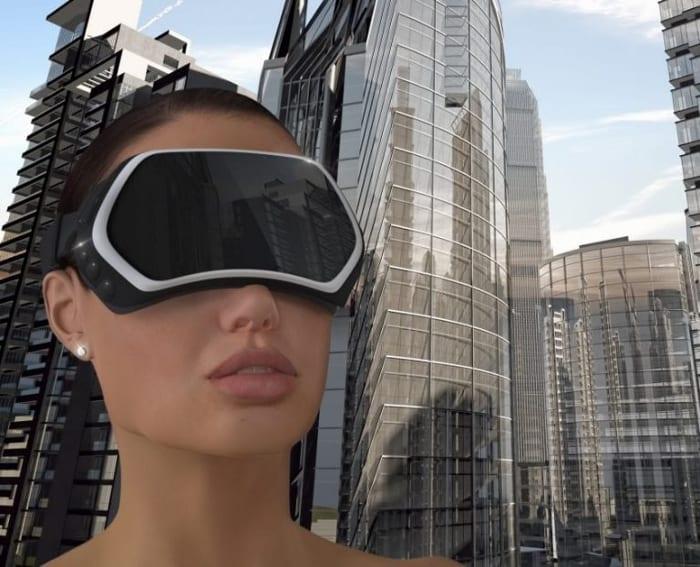 La réalité virtuelle dans le bâtiment - une image qui montre le visage d'une femme qui regarde le futur à travers un masque de réalité virtuelle