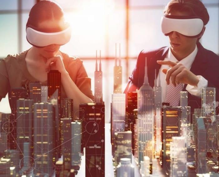 La réalité virtuelle - une image qui retenscrit la phase de conception d'une ville à travers la perception sensorielle humaine depuis un masque de réalité virtuelle