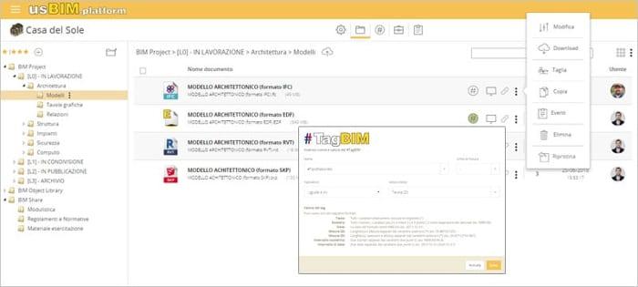 l'image représente une fenêtre de usBIM.platform et l'EDC (environnement de donnée commun) de ACCA software en premier plan nous voyons la fenêtre relative au Tag BIM