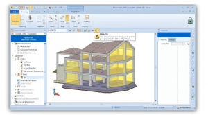 l'image montre la maquette numérique 3D avec une case pour le titre et une case pour la description du projet pour le partage en ligne - BIM VOYAGER est une plateforme qui, grâce à la technologie Cloud, permet le partage et la visualisation de modélisations 3D en ligne