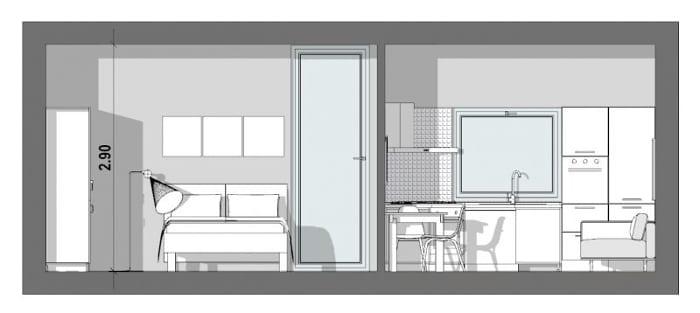 L'image montre une vue en coupe de l'appartement T2 de 40 m², la coupe montre une chambre à coucher avec un lit et une armoire diviser par une cloison qui accueille un espace avec une cuisinette et un petit séjour