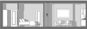 L'image montre une vue en coupe de l'appartement T2 de 60 m², la coupe montre un petit corridor avec une porte et une cloison qui sépare le corridor de la chambre à coucher qui elle est séparée par une cloison qui à son tour sépare la chambre de la cuisinette et du séjour