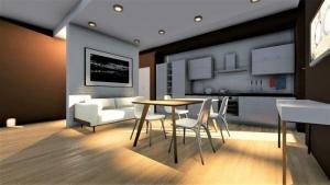 l'image montre le rendu à l'intérieur d'un appartement T2, on voit le salon avec une table a droite un canape blanc avec un feseeau de lumiere qui met en valeur le cuir blanc,le sol est un parquet claire qui recouvre toute la surface in incluant la cuisinette