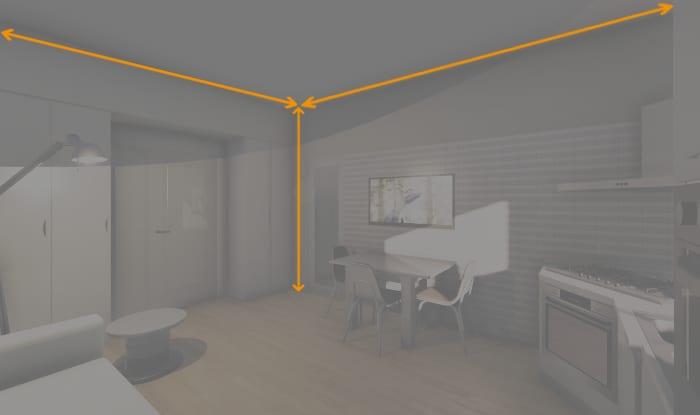L'image montre le rendu du séjour et les dimensions de la pièce- les côtés de la surface + la hauteur