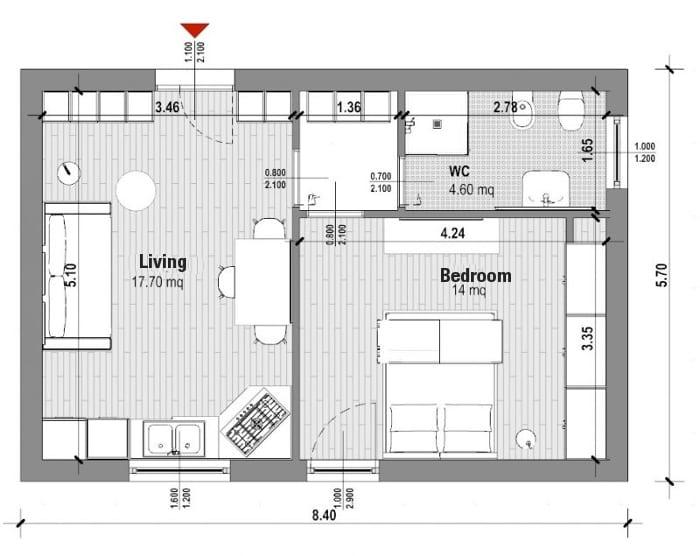 L'image montre une vue en plan de l'appartement T2 de 40 mètre carré, la forme de la pièce est rectangulaire, les espaces sont divisés par deux cloisons qui sépare les toilettes, la chambre à coucher et le séjour