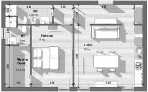 l image montre une vue en plan de l'appartement T2, la forme de la pièces est rectangulaire, les espaces sont divisés par trois cloisons qui sépare les toilettes ,la chambre à coucher et le séjour