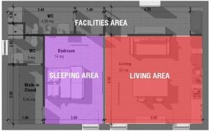 L'image montre une vue en plan d'un appartement T2 cette vue est très utile à l'organisations de la pièce pour mieux comprendre comment utiliser les espaces à disposition