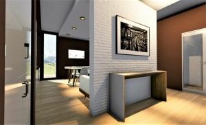 L'image montre le rendu à l'intérieur d'un appartement T2, on voit le corridor qui sépare le séjour de l'entrée du logement, à l'intérieur du séjour on aperçoit une table et sur le mur une ouverture avec un accès à l'extérieur, le sol est un parquet clair qui recouvre toute la surface