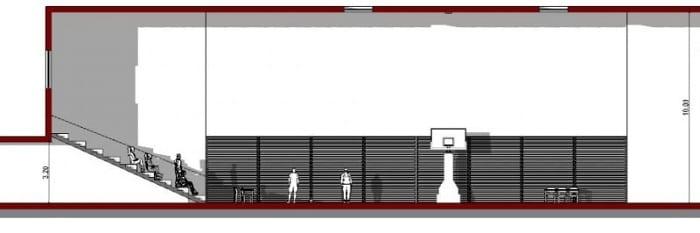 l'image représente une vue en coupe b-b du terrain de basket-ball avec une tribune et les paniers de basket et la baie vitrée - rendu réaliser avec Edificius le logiciel de conception architecturale 3D