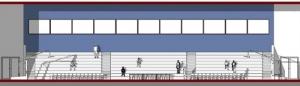 l'image représente une vue en coupe b-b du terrain de basket-ball avec une tribune et les paniers de basket- rendu réaliser avec Edificius le logiciel de conception architecturale 3D