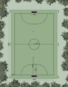 l'image représente la planimétrie d'un terrain de sport de fusal réaliser avec Edificius le logiciel de conception architecturale
