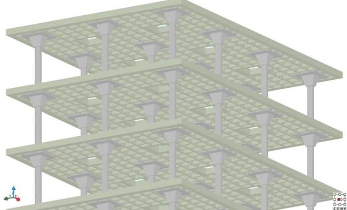 l'image représente les poteaux et les dalles en caisson d' un bâtiments de 4 étage - logiciel BIM de ACCA software EdiLus pour le Calcul de Structures