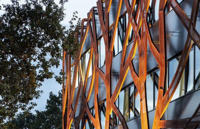 l image montre une photo de l'école passive de la façade du Graafschap College de Doetinchem au Pays-Bas, la façade represente la forme d'un carbres avec ses différentes branches construite en un acier Corten ( L'acier Corten est un acier auto-patiné à corrosion superficielle forcée, utilisé pour son aspect et sa résistance aux conditions atmosphériques, dans l'architecture, le paysagisme, la construction et l'art principalement en sculpture d'extérieur).