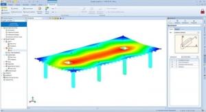 l'image represente une vue des deplacements qui montre les deformations de la dalle nervurée et des poteaux sous l' effets des charges statiques - logiciel BIM de ACCA software EdiLus pour le Calcul de Structures