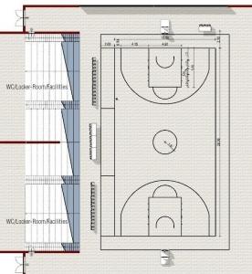 l'image repensent un rendu d'une vue en plan du terrain de basket-ball avec sa tribune et le périmètre de l aire de jeu- réaliser avec Edificius le logiciel de conception architecturale 3D