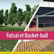 Conception de l'architecture d'un centre sportif : un terrain de futsal et un terrain de basket-ball