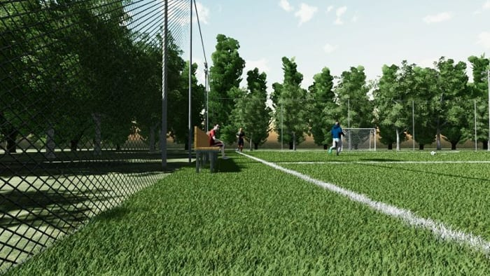 l'image montre un rendu de détails du gazon du terrain de fusal réaliser avec Edificius le logiciel de conception architecturale 3D