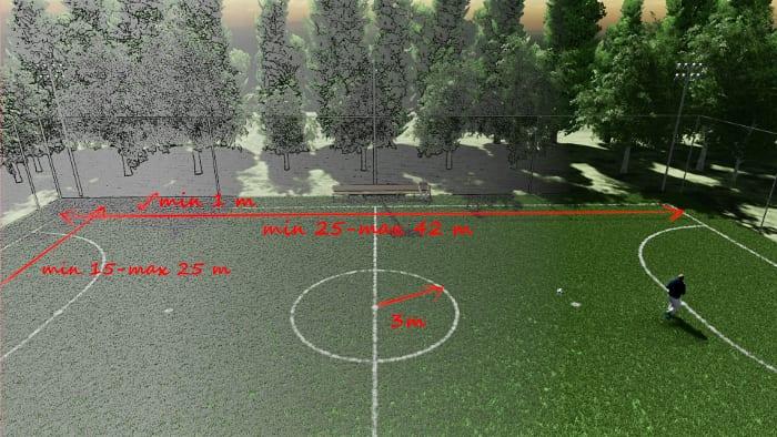 l'image représente un rendu d'Edificius d'un terrain de fustal avec les dimensions reglementaires dictées par la FIFA , logiciel Edificius de ACCA software pour la conception architecturale