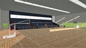 l'image représente un rendu panoramique de la salle de sport du terrain de basket-ball avec une tribune, ses panneaux et panier et son magnifique parquet, rendu réaliser avec Edificius le logiciel de conception architecturale 3D