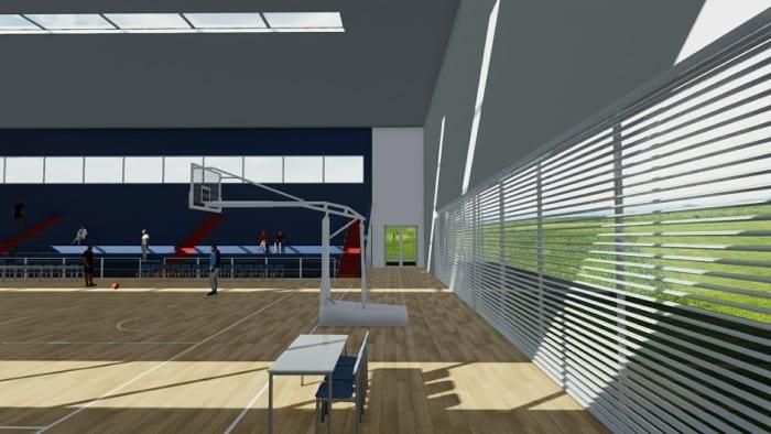 l'image montre un rendu avec un bancs et un panier de basket-ball et une baie vitrée qui pour faire entrer la lumière naturelle - rendu réaliser avec Edificius le logiciel de conception architecturale 3D