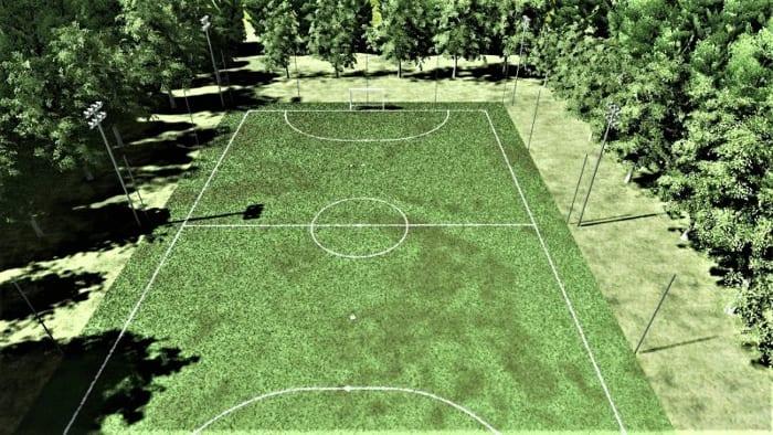 l'image représente un rendu d'un terrain de fustal vue d'en haut, logiciel Edificius de ACCA software pour la conception architecturale