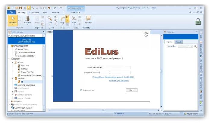 l'image montre une fenêtre d'authentification avec l adresse email et la password pour accéder au lien envoyer parEdiLus-VR - BIM VOYAGER est une plateforme qui, grâce à la technologie Cloud, permet le partage et la visualisation de modélisations 3D en ligne