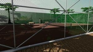 l'image représente un rendu du court de tennis, on peut voir le terrain de jeu au travers le treillis de clôture, le rendu montre bien les ombres des arbres sur le court , le rendu est réaliser avec Edificius le logiciel de conception architecturale