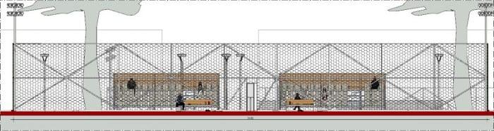 l'image représente une vue en coupe du court de tennis, du treillis, des tours d'éclairage, les tribunes pour les spectateurs - le rendu est réaliser avec Edificius le logiciel de conception architecturale