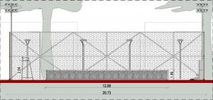 l'image représente une vue en coupe du court de tennis, du treillis, le filet, la chaise de l'arbitre - le rendu est réaliser avec Edificius le logiciel de conception architecturale