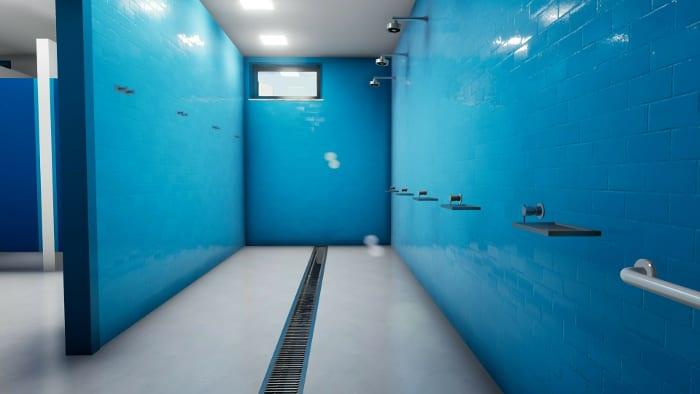 l'image représente le rendu intérieure de l'espace douche du vestiaires d'un centre sportif– rendu réaliser avec Edificius logiciel de conception architecturale