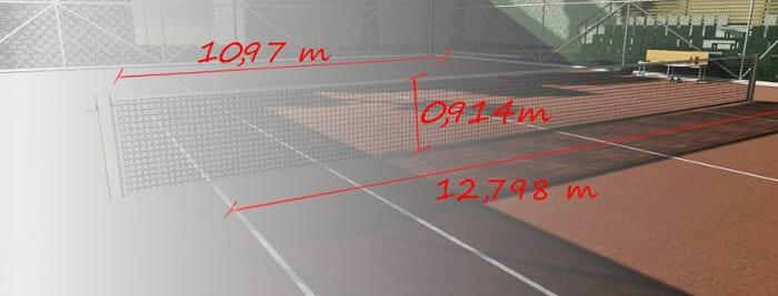 l'image représente une perspective du court de tennis avec les dimension de la hauteur du filet , la largeur de la ligne de fond et la largeur du terrain en jeu de double - le rendu est réaliser avec Edificius le logiciel de conception architecturale