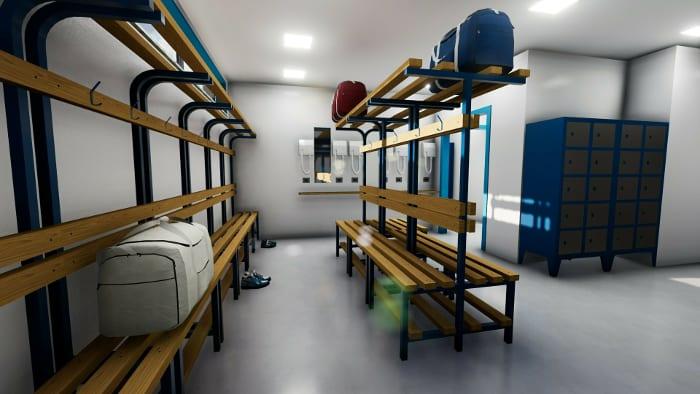 l'image représente le rendu intérieure de l'espace vestiaires d'un centre sportif avec ses bancs en structure en acier et des blanches en bois pour s'assoir et ses crochet pour suspendre les habits– rendu réaliser avec Edificius logiciel de conception architecturale
