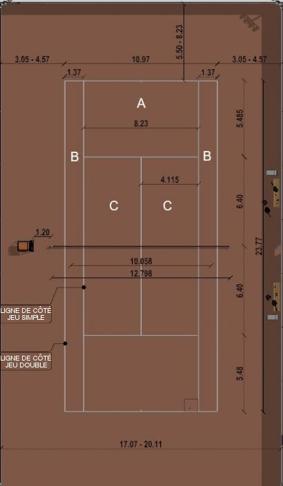 l'image représente le rendu de la vue en plan du court de tennis on peut lire les dimension du rectangle de l'aire de jeu de 10.97m de largeur sur 23.77m de longueur et de 11.885 pour la moitié de terrain jusqu'au filet – rendu réaliser avec Edificius le logiciel de conception architecturale