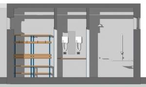 l'image représente une vue en coupe des bancs, de l'espace pour les sèches cheveux et l'espace pour la douche du vestiaire d'un centre sportif - le rendu est réaliser avec Edificius le logiciel de conception architecturale
