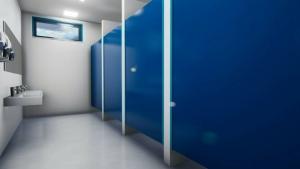 l'image représente le rendu intérieure de la zone des WC d'un centre sportif – rendu réaliser avec Edificius logiciel de conception architecturale